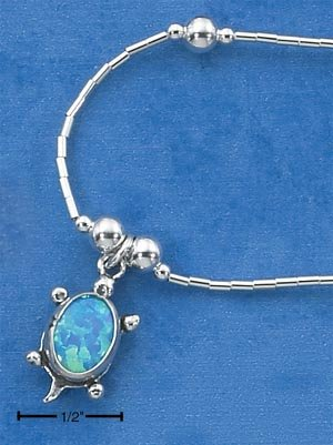"STERLING SILVER 16"" LAB BLUE OPAL TURTLE CHARM  NECKLACE W/ BEADS"