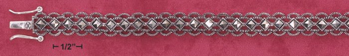 "STERLING SILVER 7"" LACY SCALLOPED MARCASITE BRACELET"