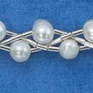 "STERLING SILVER 7"" DOUBLE STRAND TWIST  FWP BEADS BRACELET"