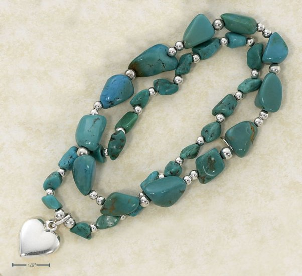 "STERLING SILVER 7"" TWIN STRETCH BRACELETS STERLING SILVER 7"" TWIN STRETCH BRACELETS W/ TURQUOISE"