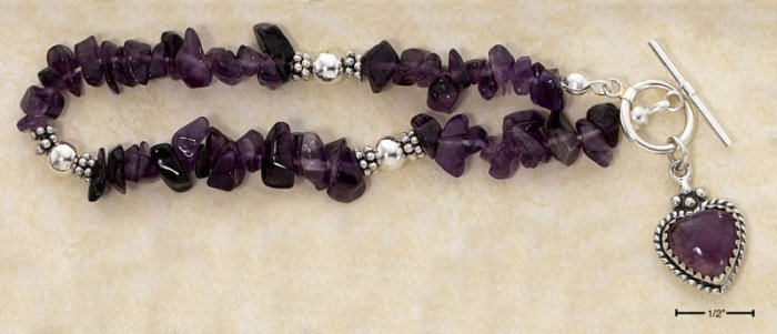 "STERLING SILVER 7"" AMETHYST CHIPS   & AMETH HEART DANGLE TOGGLE BRAC"
