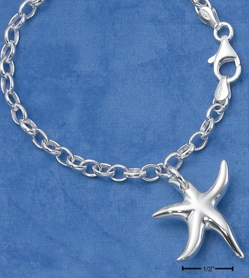 "STERLING SILVER 7""   HIGH POLISH STARFISH CHARM BRACELET"