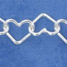 "STERLING SILVER ITALIAN 7"" SMALL OPEN WIRE HEART LINK BRACELET"