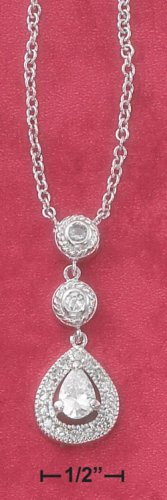 "STERLING SILVER 16"" NECKLACE W/ & TEAR CZ DROPS"