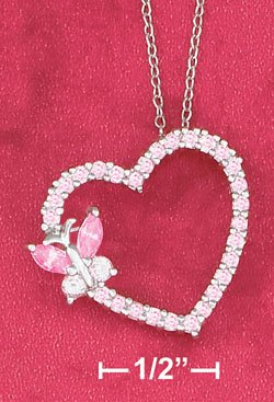 "STERLING SILVER   18""   NECKLACE W/PINK CZ HEART & BUTTERFLY SLIDE"