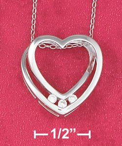 "STERLING SILVER RP 18"" NECKLACE W/ TWISTED OPEN HEART SLIDE W/ CZS"