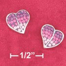 STERLING SILVER 8MM HEART EARRINGS W/VARIOUS PINK SHADES OF CZ'S ON POST