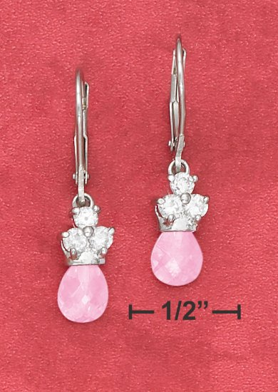 925 SILVER  CZ LEVERBACK EARRINGS W/ PINK FACETED CZ TEAR