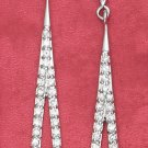 STERLING SILVER OPEN  CZ TEAR POST DANGLE EARRINGS