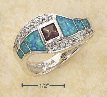 STERLING SILVER DESIGNER   BLUE OPAL INLAYS W/ CZS / AMETHYST RING