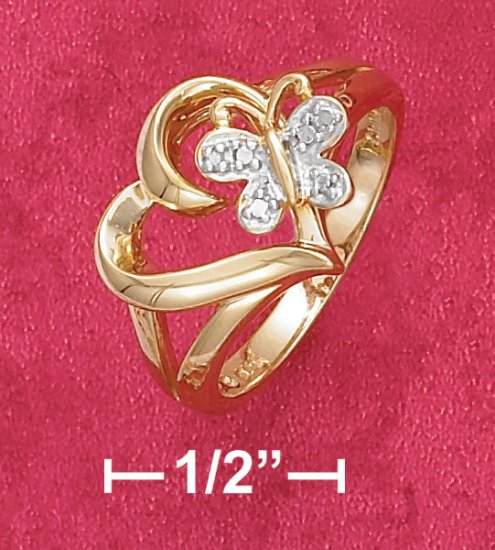 18K VERMEIL OPEN HEART RING W/ BUTTERFLY & DIAMOND ACCENT