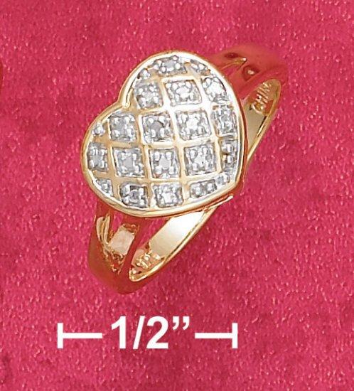 18K VERMEIL  CROSS HATCH HEART RING W/ DIAMOND CHIP
