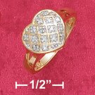 18K VERMEIL  CROSS HATCH HEART RING W/ DIAMOND CHIP