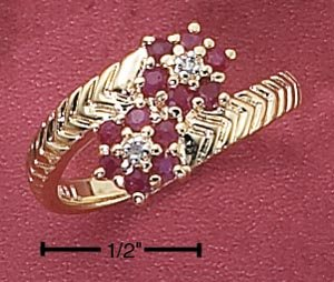 STERLING SILVER VERMEIL GENUINE RUBY FLOWER BYPASS RING
