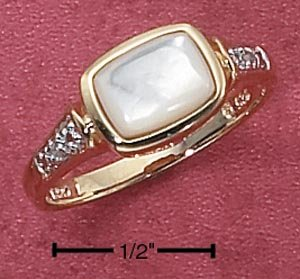 STERLING SILVER VERMEIL MOP RING W/ DIAMOND CHIPS