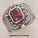 STERLING SILVER MARCASITE WIDE FILIGREE RING W/   LAB GARNET