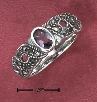 STERLING SILVER OPEN ROPE MARCASITE LAB AMETHYST RING