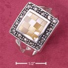 STERLING SILVER YELLOW MOP MOSAIC SQUARE RING W/ MARCASITE BORDER