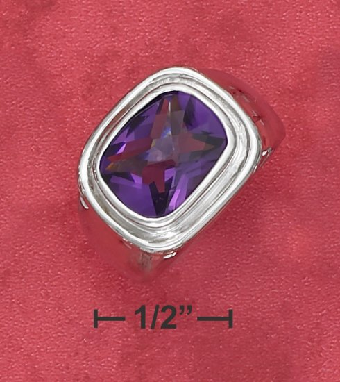 MENS STERLING SILVER 7CT RADIANT CHECKERBOARD SYNTHETIC AMETHYST RING
