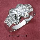 "STERLING SILVER CZ BAND W/ CHANNEL SET CZ CENTER ""X"" RING"
