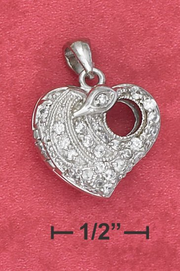 STERLING SILVER 17MM PAVE CZ HEART LOCKET