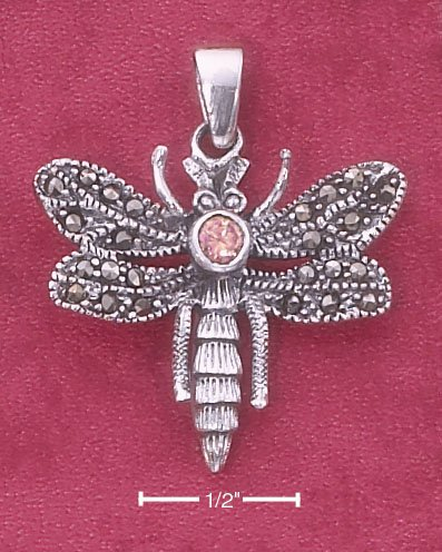 STERLING SILVER ANTIQUED MARCASITE DRAGONFLY PENDANT W/ PINK CZ