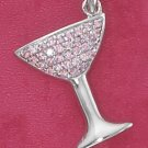 STERLING SILVER PINK ICE CHAMPAGNE GLASS PENDANT
