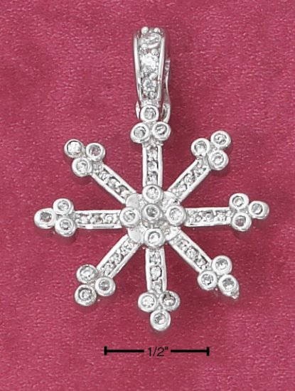 STERLING SILVER   LARGE CZ SNOWFLAKE PENDANT