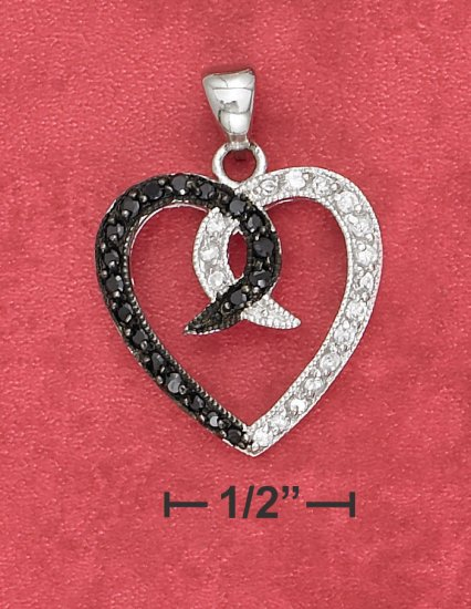 STERLING SILVER OPEN HEART PENDANT WITH BLACK & WHITE CZ'S