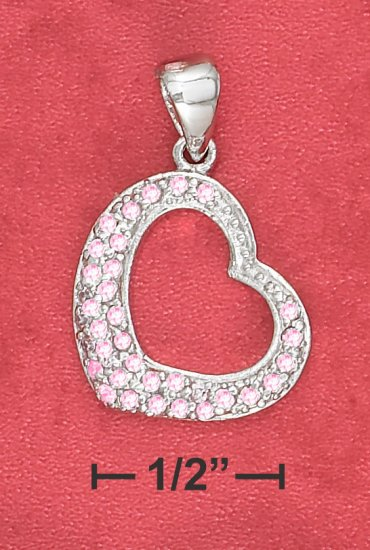 STERLING SILVER  FAT BOTTOM OPEN HEART PINK ICE PAVE PENDANT