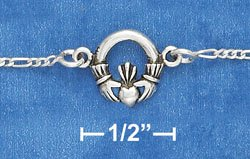 "STERLING SILVER 7""  CLADDAGH BRACELET WITH SPRING RING CLASP"