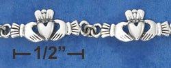 """STERLING SILVER 7.5"""" CLADDAGH HANDS LINK BRACELET"""