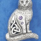 "STERLING SILVER ANTQD 1.5"" CELTIC CAT PENDANT W/ 2MM & 3MM ROUND AMETHYST STONES"