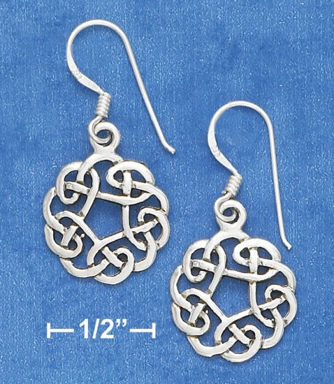 "STERLING SILVER ANTIQUED 5/8""   CELTIC DESIGN ON F  W EARRINGS"
