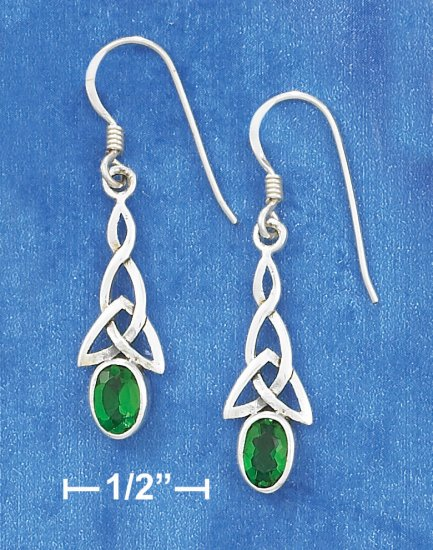 STERLING SILVER CELTIC W/ GREEN CZ FRENCH WIRE EARRINGS