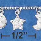 STERLING SILVER MOON & STAR DANGLE CHARM BRACELET