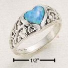STERLING SILVER RAISED FILIGREE BAND W/ OPAL HEART