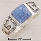 STERLING SILVER SQUARE DENIM LAPIS GREEK DESIGN SHANK RING