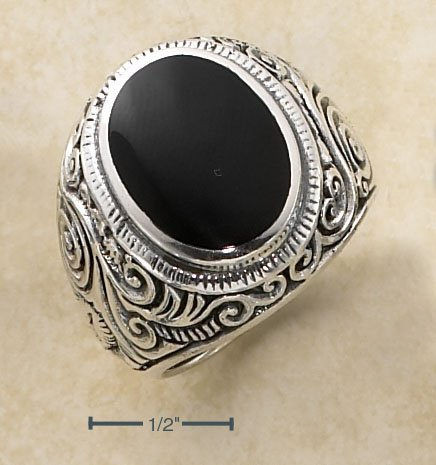 STERLING SILVER MENS LG BEZEL SET OVAL ONYX RING W// SCROLLED /BAND