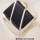 STERLING SILVER MEN'S LARGE ONYX RECTANGULAR STRIPED RING