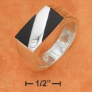 STERLING SILVER HP MENS RECTANGULAR ONYX RING W/CZ ACCENT