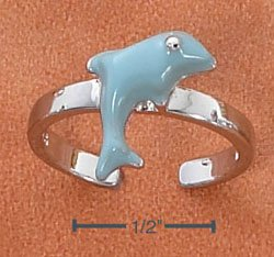 STERLING SILVER ENAMEL LIGHT BLUE DOLPHIN TOE RING