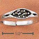 STERLING SILVER TOE RING WITH MARQUIS MARCASITE INLAY