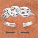 STERLING SILVER TRIPLE CRESCENT MOONS W/ BLUE CRYSTALS TOE RING