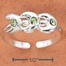 STERLING SILVER TRIPLE CRESCENT MOONS W/ GREEN CRYSTALS TOE RING