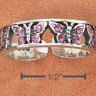 STERLING SILVER PINK CRYSTALS BUTTERFLIES TOE RING