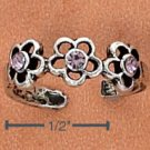 STERLING SILVER TRIPLE DAISY W/ 3 PINK CRYSTALS TOE RING