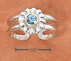 STERLING SILVER LARGE FLOWER W/ AQUA BLUE CRYSTAL CENTER TOE RING