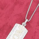 "STERLING SILVER TT RP 18"" BOX NECKLACE W/13X25 CZ EDGED DOG TAG &  GP MOM CHARM"
