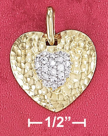 "STERLING SILVER 18"" VERMEIL 19MM HAMMERED HEART PENDANT W/ 9MM PAVE CZ HEART"